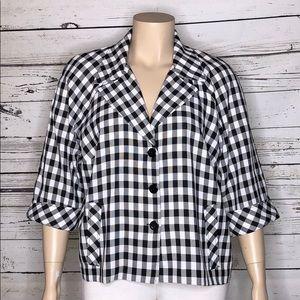 Dressbarn 18W Black White Plaid Lightweight Jacket